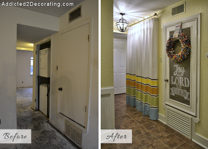 Small condo hallway turned laundry room - before and after makeover