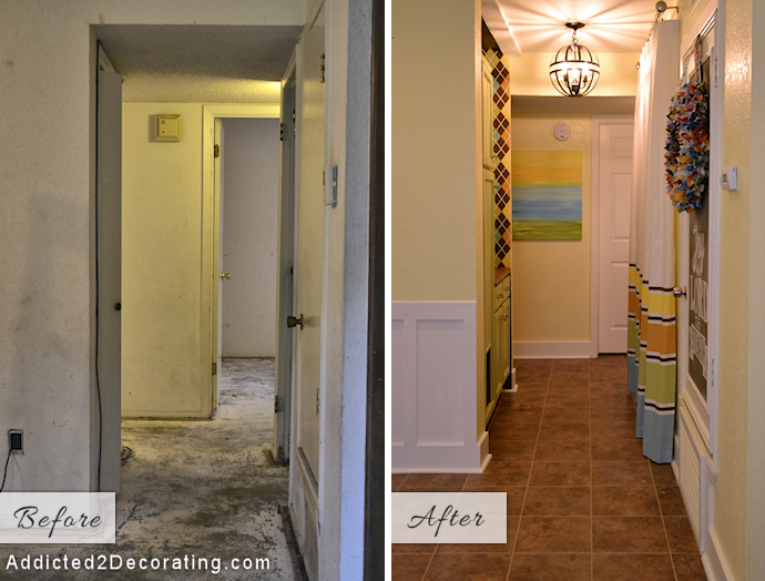 Small condo laundry room (a.k.a. hallway makeover) before and after