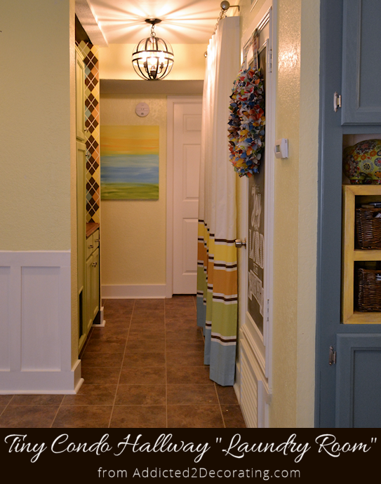 small space condo hallway turned laundry room