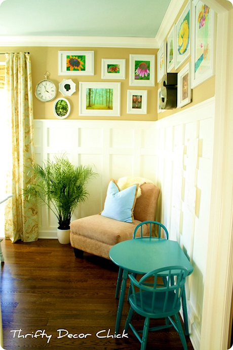 Wainscoting ideas - board and batten in home office from Thrifty Decor Chick