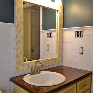 Bathroom Makeover Day 14:  DIY Mosaic Wood Tile Mirror Frame – Finished!