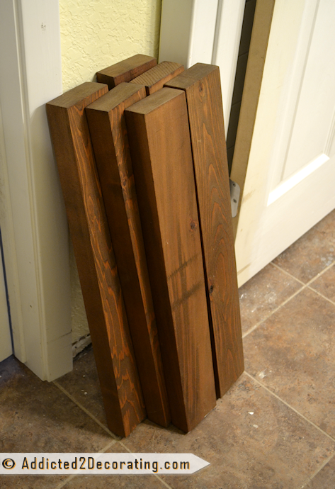 "Bathroom makeover day 15 - 2"" x 4"" lumber cut for shelves"