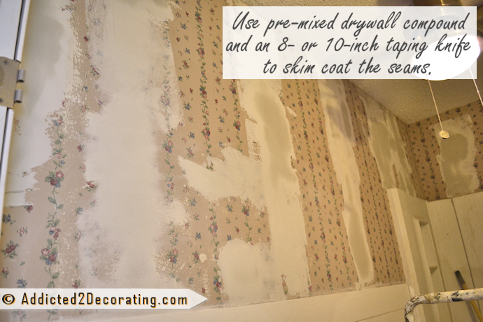 Alternative to stripping wallpaper - use drywall mud over the seams