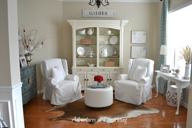 Blue and white living room from Adventures In Decorating blog