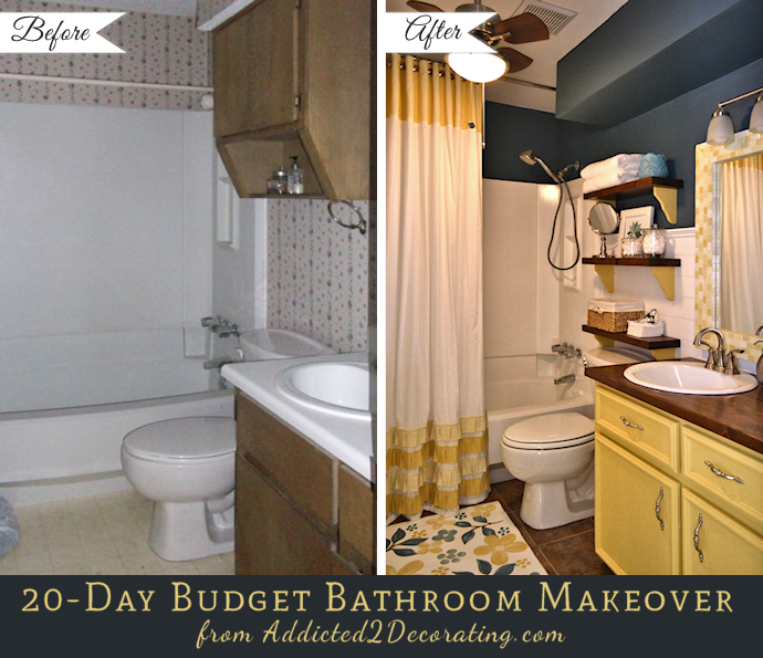 cheap small bathroom makeovers 20 day small bathroom makeover before and after 17718