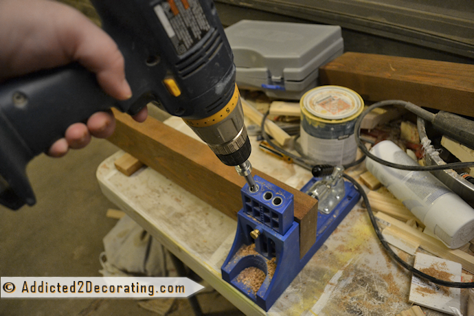 Use Kreg Jig to make scrap wood shelves, drill pocket holes