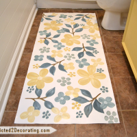 Hand painted floral floorcloth
