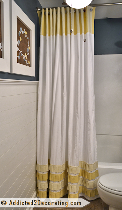 Make an extra long shower cutain with pleated ruffles - tutorial