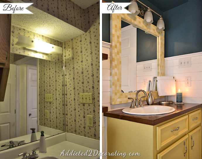 20 day small bathroom makeover before and after for Before and after small bathroom makeovers