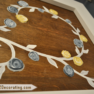 Bathroom Makeover Day 16:  DIY Flower Vine Artwork Made With Drywall Mud