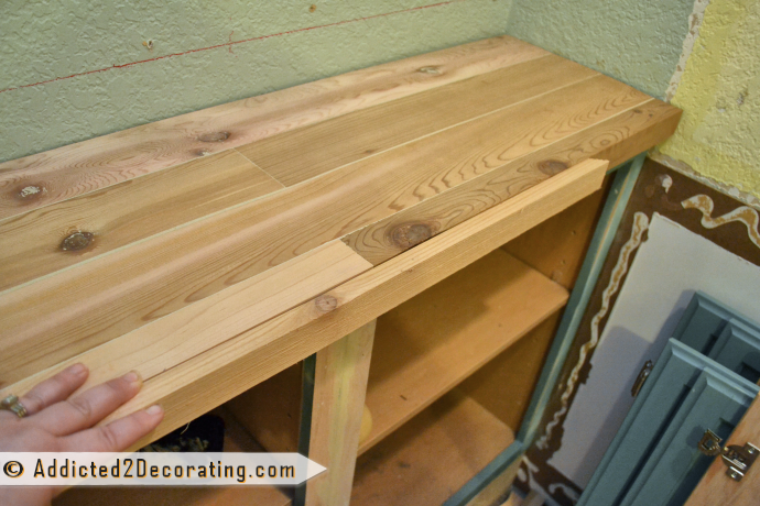 DIY Wood Countertop For Built-In Bookcase 10