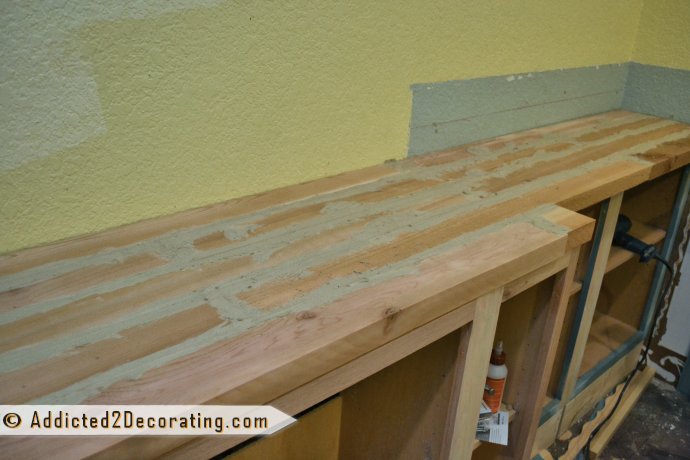 "DIY Wood Countertop Made From Cedar 2"" x 4"" lumber"