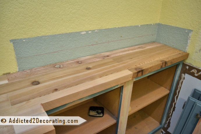 DIY Wood Countertop For Built-In Bookcase 6