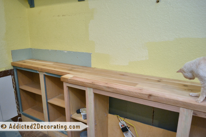 "DIY wood countertop made from cedar 2"" by 4"" lumber"