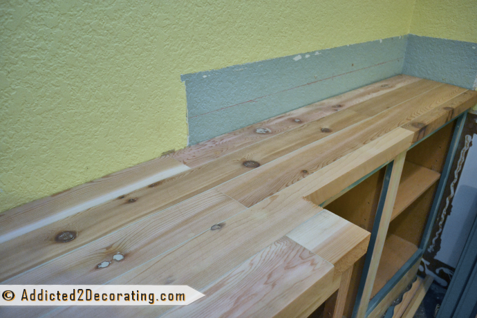 DIY Wood Countertop For Built-In Bookcase 9