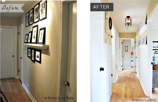 Cottage style hallway with board and batten walls, from Simplicity In The South blog