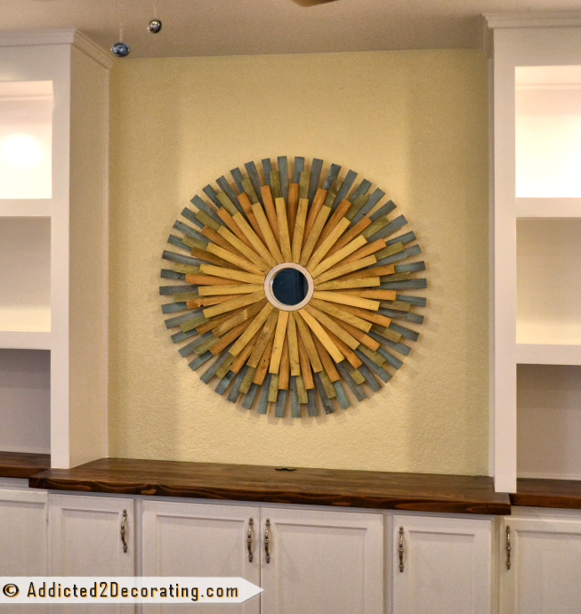 DIY Multi-Colored Wood Shim Sunburst Mirror from Addicted2Decorating.com - 3