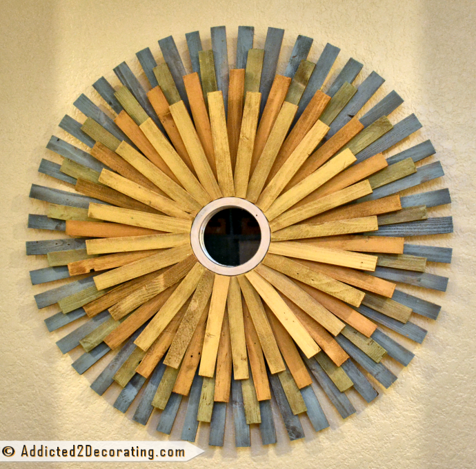 DIY Multi-Colored Wood Shim Sunburst Mirror from Addicted2Decorating.com