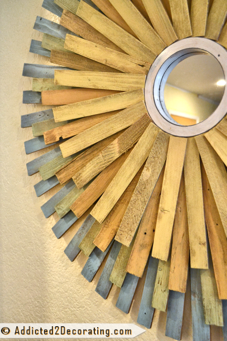 DIY Multi-Colored Wood Shim Sunburst Mirror from Addicted2Decorating.com - closeup