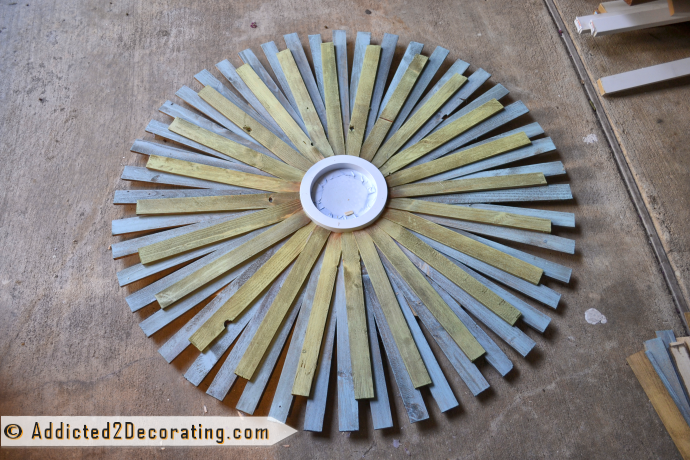 How to make a large multi-colored wood shim sunburst mirror - attach 24 of the second color