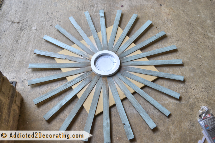 How to make a large multi-colored wood shim sunburst mirror - continue gluing shims on first row