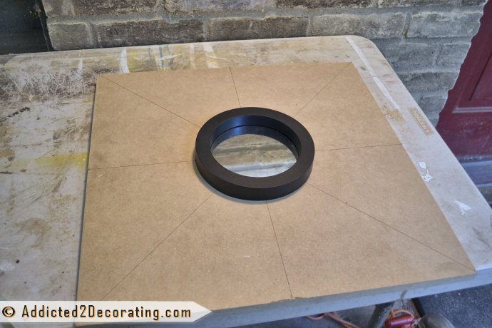 How to make a large multi-colored wood shim sunburst mirror - step 1 - cut the back and glue mirror in the middle