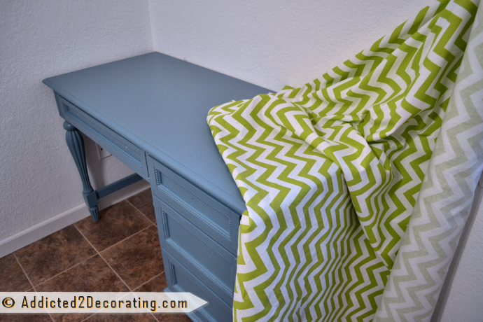 Turquoise desk, green and white chevron fabric for curtains