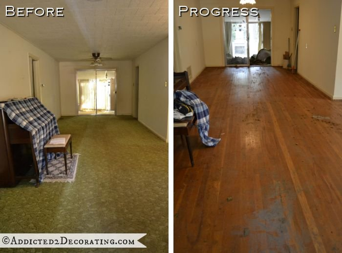 Goodbye green carpet hello original hardwood floors Carpet or wooden floor in living room
