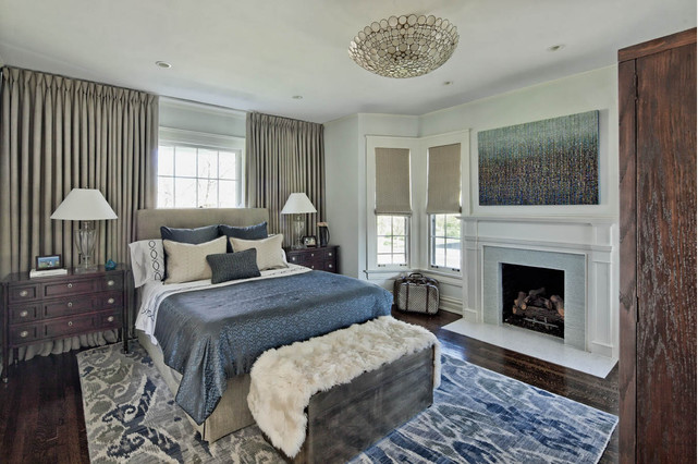 Headboard in front of window - room design by Buckingham Interiors + Design, via Houzz