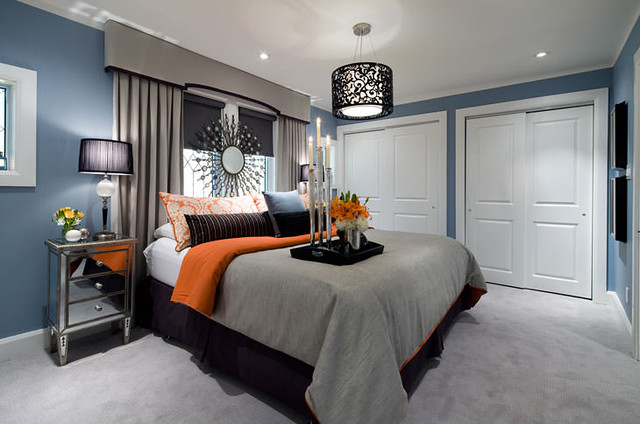 Headboard in front of window - room design by Jane Lockhart Design, via Houzz
