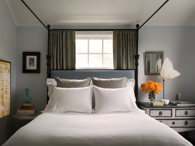 Headboard in front of window - photography by David Duncan Livingston, via Houzz