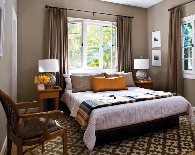 Headboard in front of window - room design by tati4design, via Houzz