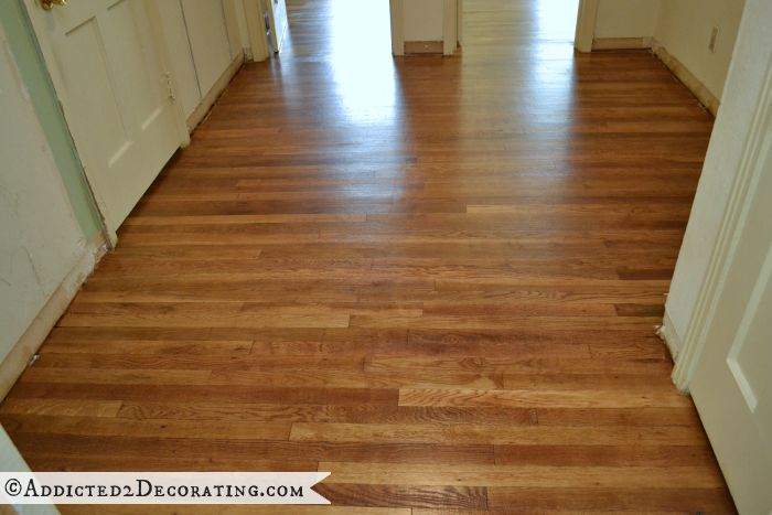 Hallway with refinished 65-year-old oak hardwood floor