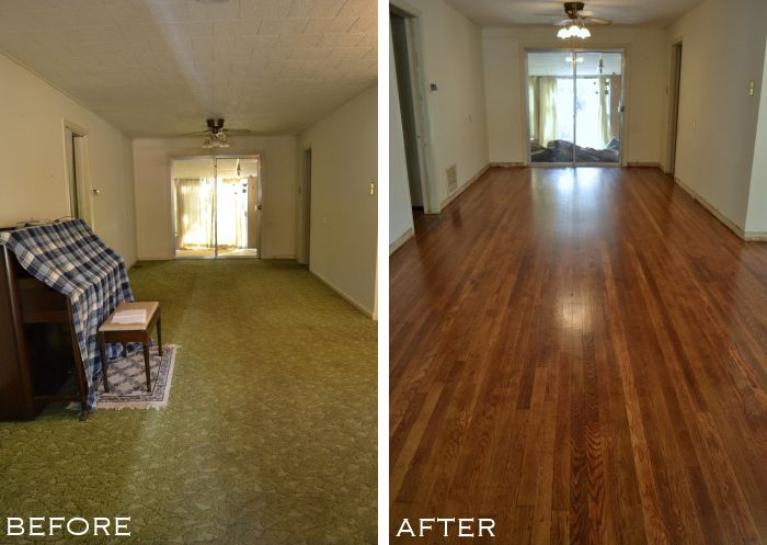 Entryway and dining room with old carpet removed and original hardwood floors refinished, from www.Addicted2Decorating.com