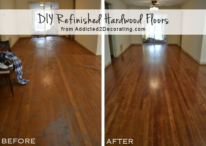 DIY refinished hardwood floors, before and after (65-year-old oak floors) from www.Addicted2Decorating.com