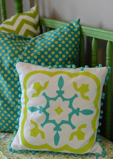 Stenciled pillow made using Silhouette Cameo