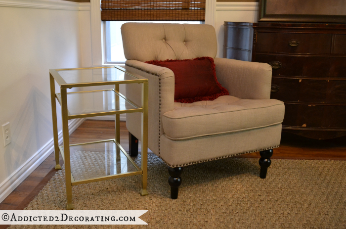 Metal and glass end table spray painted gold, using Design Master Gold Medal spray paint