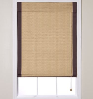 natural roman shades with brown edge banding from Smith + Noble