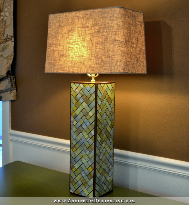 "DIY Herringbone Table Lamp made with ""tiles"" of watercolor paper"