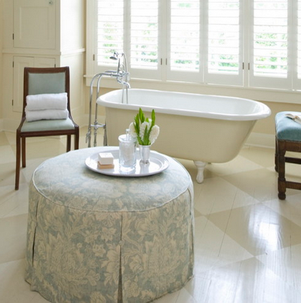 Painted hard wood floor -- white checked painted wood floor in bathroom by Katie Emmons Design, via Houzz.com