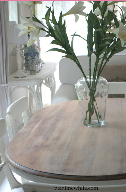 dining table makeover - after - paint me white