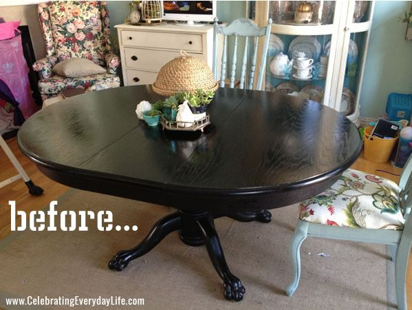 dining table makeover - before - celebrating everyday life