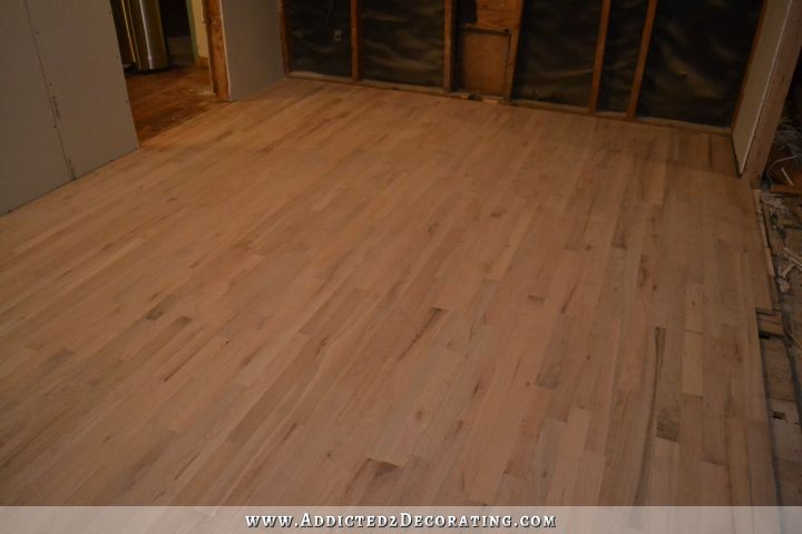 Kitchen progress painted striped hardwood floor for Hardwood flooring 76262