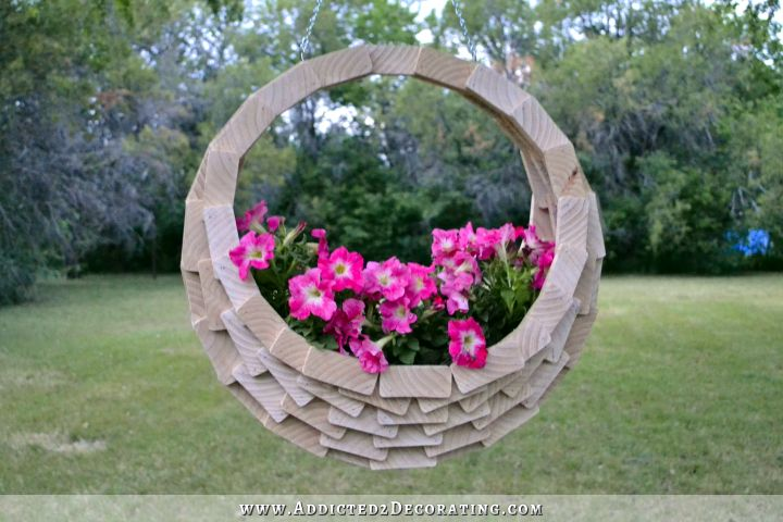 scrap wood hanging flower basket 20