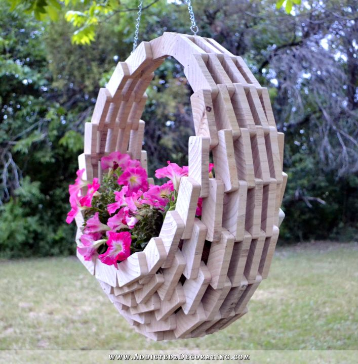 Easy inexpensive diy pieced wood hanging flower basket - Scrap wood decorated house ...