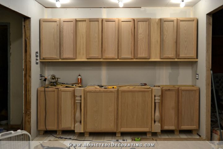 The wall of cabinets build is finished in cabinet lights for Upper kitchen cupboards