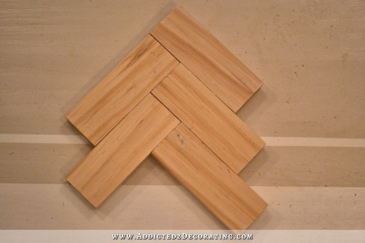 wood herringbone backsplash 2