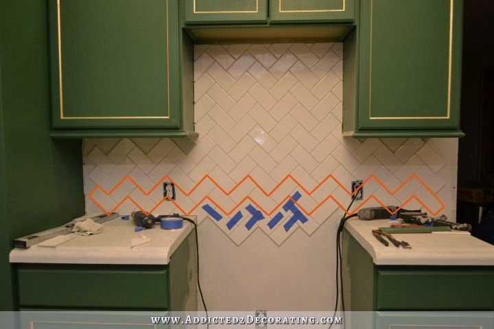 herringbone subway tile backsplash 6