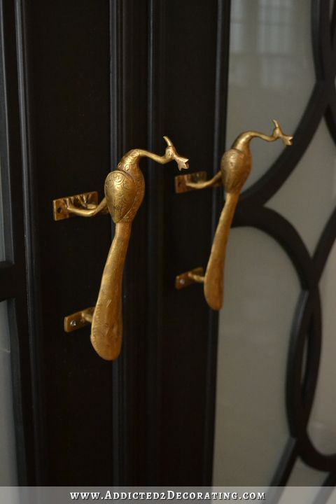 Brass peacock door pulls