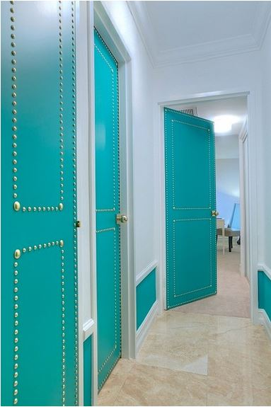 Flat Panel Door Ideas   Upholstered Door With Nail Head Trim, By DKOR  Interiors,